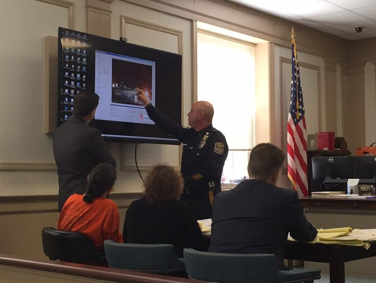 Mount Olive Officer John Bevacqua, pointing at screen,