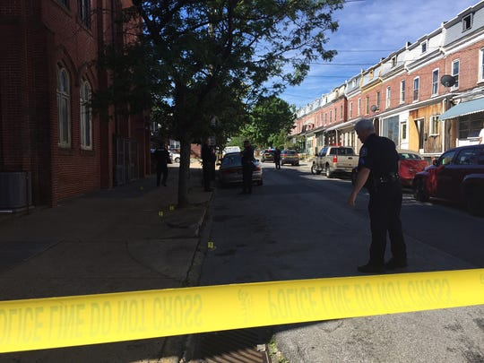 Wilmington police investigate a shots fired call Monday morning in the 1000 block of Lombard St.
