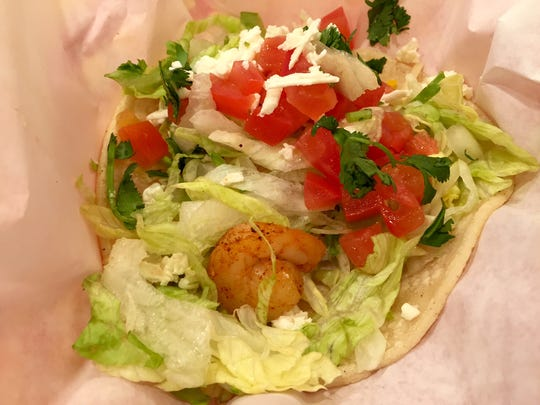 The saddest shrimp taco to have ever shrimp taco, from Fuzzy's in south Fort Myers.