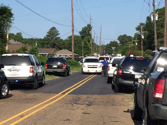 The scene on Pearl Street near U.S. 165 south where two Ouachita Parish Sheriff's Office deputies were shot Thursday morning.