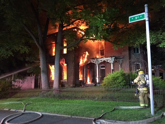 A home on the 200 block of West Locust Street was destroyed
