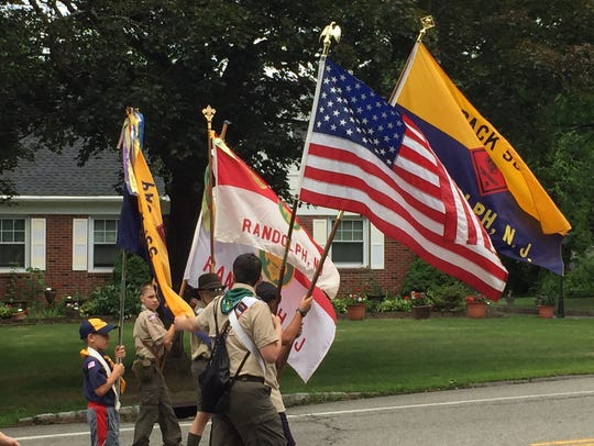 Boy Scout troop marches in the Randolph Kiwanis Freedom