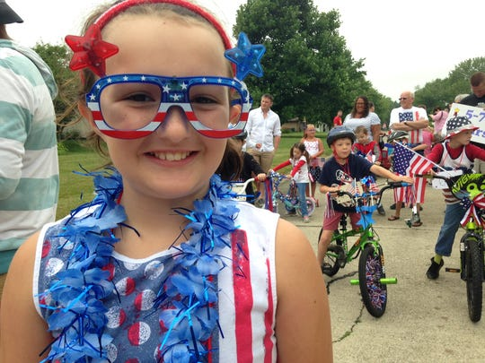 A  firetruck led the Fourth of July parade in Robinwood