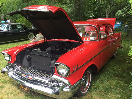 A 1957 Chevrolet on display at the 11th Annual David Hill Memorial Locust Grove Car Show Sunday in Poughkeepsie.