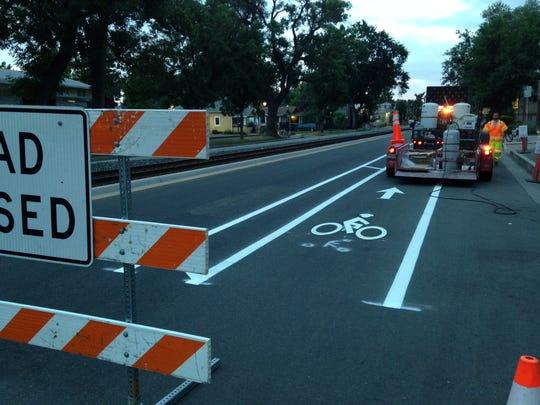 The city installed bike lanes on Mason Street Sunday,