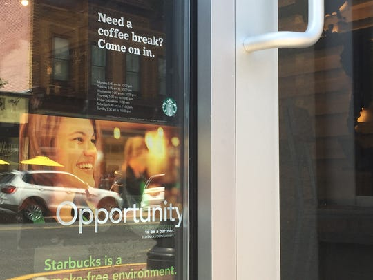 Starbucks recruits workers at its store in Red Bank.