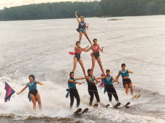 The Aqua Skiers grand pyramid during the 1986 Wisconsin State Water Ski Tournament.