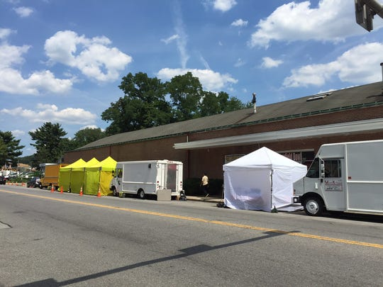 Tents set up outside Homefield Bowl where Orange is the new Black is being filmed on Saw Mill River Rd in Yonkers.