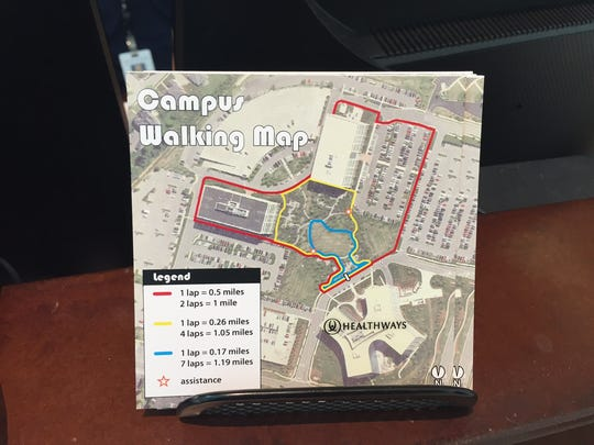 Visitors to Healthways can pick up maps that show the distance of the campus's walkways.