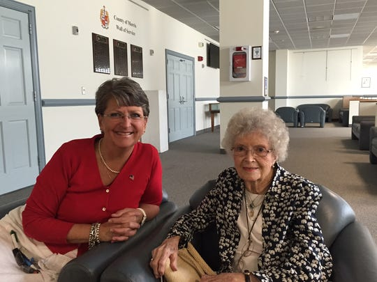 Chatham Township Committeewoman Karen Swartz with resident Alice Lundt, who turned 100 on Aug. 10.