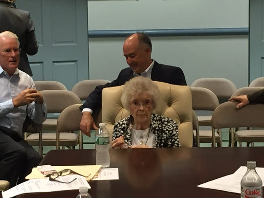 Chatham Township resident Alice Lundt, 100, waits at a Morris County freeholder meeting on Aug. 24, 2016 for a proclamation honoring her age and public service.
