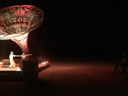 """La Victrola"" is an installation by Tim Bremner and his team for Burning Man 2016."