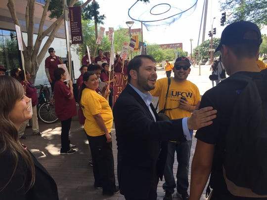 U.S. Rep. Ruben Gallego attends the protest on Thursday afternoon at ASU's downtown Phoenix campus.