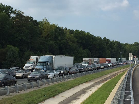 The traffic stretched on for miles on I-95 NB Thursday morning.