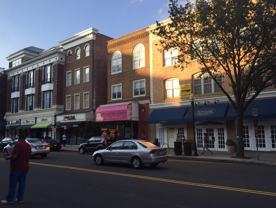 South Street streetscape in Morristown. Businesses