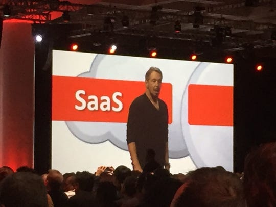 Oracle CTO Larry Ellison during Sunday keynote speech