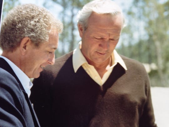 Keith Miller, left, found Arnold Palmer to be a great