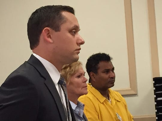 From left, Morris County Assistant Prosecutor Justin Tellone, county Deputy Public Defender Dolores Mann, and defendant Richard Perry of Oak Ridge, in Superior Court, Morristown, on Oct. 3, 2016.