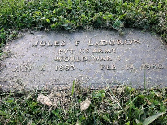 The burial site of local folk hero Dr. Jules F. LaDuron at Beech Grove Cemetery.
