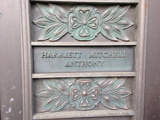 The door to a mausoleum at Beech Grove Cemetery contains
