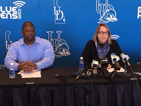 University of Delaware's interim football coach Dennis Dottin-Carter (left) and Christine Rawak, athletic director, at a press conference Monday on the future of the team without former coach Dave Brock, who was fired Sunday.