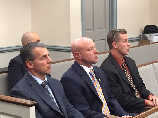 From left, Randolph Police Detective Lt. Chris Giuliani, Police Chief David Stokoe and retired Chief Robert Mason. They were in Superior Court, Morristown, on Oct. 24, 2016 for a trial on an officer's lawsuit against Randolph.
