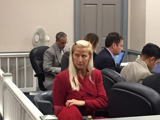 Randolph Police Officer Melissa Bailey in Superior Court, Morristown, on Oct. 24, 2016 for a trial on her discrimination lawsuit against the township.