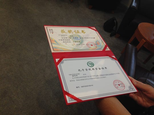 The certificate Moorestown Friends senior Nick Tursi received for finishing in the top 30 in a language competition in China. Tursi was there for two weeks along with his teacher.