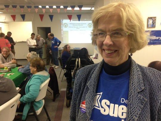 Sue Errington awaits election returns at Team Democrat