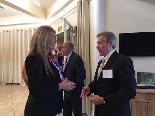 Future Port St. Lucie City Manager Russ Blackburn talks with District 1 Councilwoman-elect Stephanie Morgan on Oct. 21 during a public meet-and-greet with city manager finalists at the Port St. Lucie Botanical Gardens.