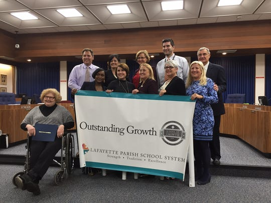 Lafayette Parish principals of Schools of Outstanding Growth celebrate the achievement, joined by Superintendent Donald Aguillard.