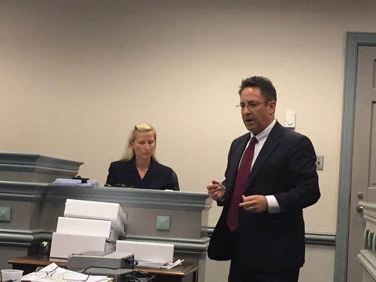 Attorney Eric Harrison questions Randolph Police Officer Melissa Bailey during trial Nov. 17, 2016 on her gender discrimination lawsuit against the police department.