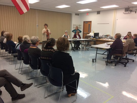 Door County Clerk Jill Lau explains the rules of watching the recount to about 12 observers at 9 a.m. Thursday.