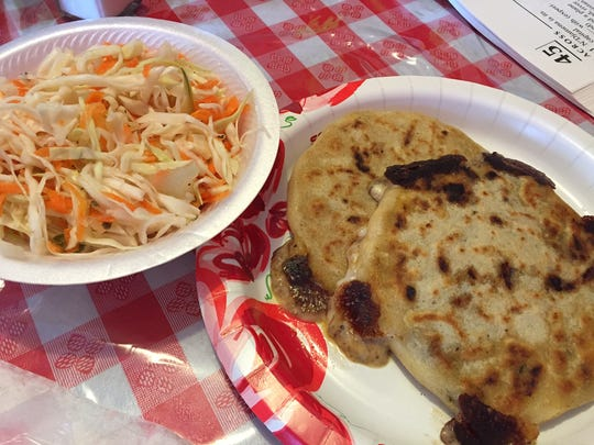 Pupusas and cabbage salad from Pupusa Mari in Hamilton