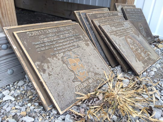 Kendrick Excavating Inc. found several memorial plaques for past Longaberger Co. employees and is trying to get the plaques to their families.