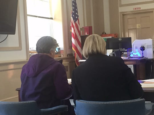 From left, Maria Patamia with defense lawyer Marcy McMann in Superior Court, Morristown, on Dec. 19, 2016.