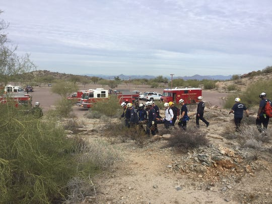 """The Phoenix Fire Department said a teen rescued on South Mountain suffered """"significant injury"""" to his lower leg, but that he is expected to be OK."""
