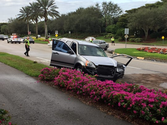 Four people in to mvehiles were hurt in a crash at Copperleaf Boulevard and Three Oaks Parkwayon Wednesday.
