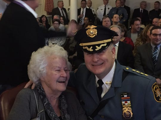 Morris County Sheriff James Gannon with his mother, Genevieve, moments before he was sworn in publicly on Jan. 6, 2017, in historic Courtroom 1 at the Morris County courthouse.