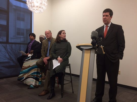 Bob Mendes, at-large Metro Councilman, speaks about Respect Nashville during a press conference at Casa Azafran.