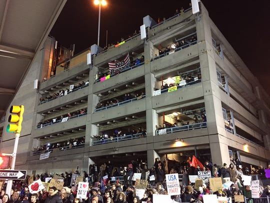 Protesters at John F. Kennedy International Airport on Saturday, Jan. 28, 2017.