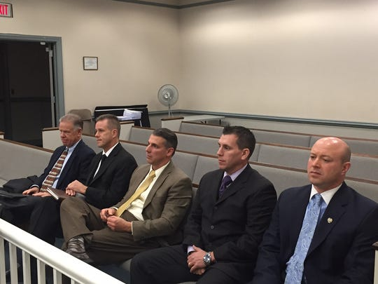 From left, former Randolph Manager John Lovell, former Police Chief Robert Mason, Randolph Lt. Chris Giuliani, Lt. William Harzula and Police Chief David Stokoe at trial in December 2016 on a gender discrimination lawsuit.