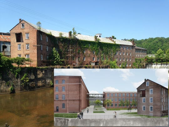 "LEDIC plans on building 146 apartments using the five historic masonry structures that make up the gin shop. The project takes up about 15 acres of the site. LEDIC is calling the property ""The Mill."" The inset on this illustration shows a view from the water."