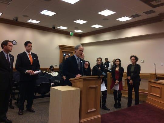 Sen. John Stevens, R-Huntingdon, is joined by Rep.