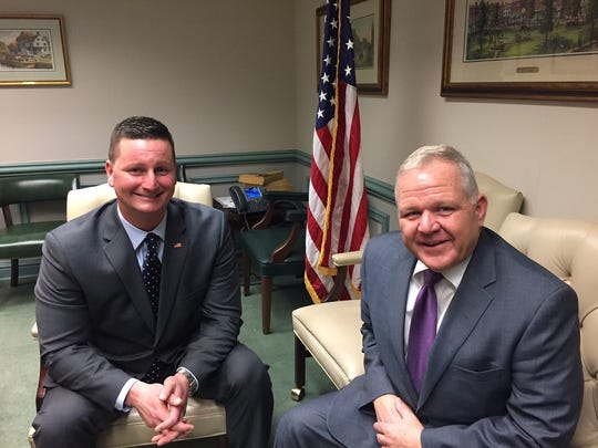 From left, County College of Morris Board of Trustees Dr. Joseph L. Ricca Jr. and Freeholder Board Director Douglas Cabana.