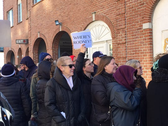 Members of NJ 11th for Change gather outside U.S. Rep. Rodney Frelinghuysen's district office in Morristown on Feb. 17, 2017.