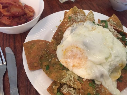 Park Place Cafe and Restaurant's version of huevos rancheros are made with housemade chips and salsa verde.