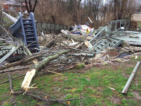 Storm damage at the home of Sherry Wallace on Azure Court in Anderson Township