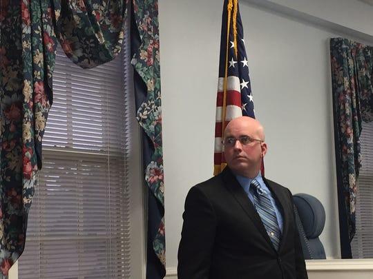 Montville Township Police Officer Kurt Geisinger in Morris Plains Municipal Court on March 7, 2017.