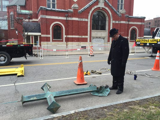 St. Mary's Church Cross Comes Down